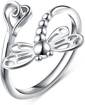 925 Sterling Silver Open Heart Dragonfly Rings for Women ( Resizable Ring )