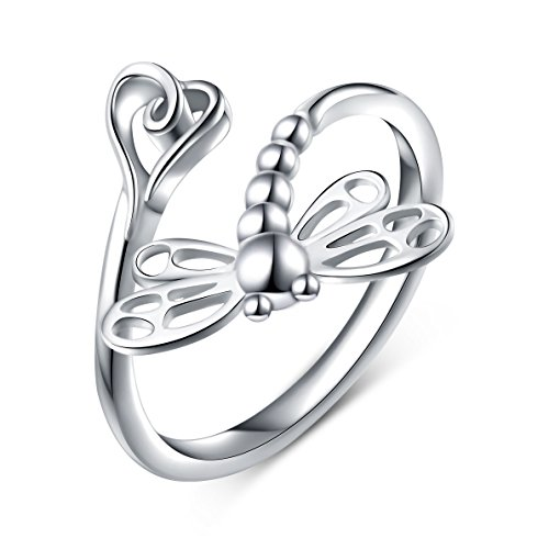 (925 Sterling Silver Open Heart Dragonfly Rings for Women (Resizable Ring))