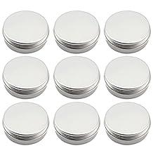 Elisona-10Pcs 1OZ 25ML Cosmetic Sample Slip Slide Screw Top Containers Aluminum Makeup Screwtop Round Empty Tins Silver