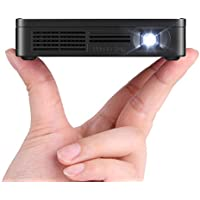 Amaz-Play Mobile Pico Projector DLP Portable Mini Pocket Size Multimedia Video LED Gaming Projectors with 120 Display,120-Minute Battery Life, 20,000-Hour LED Color Black