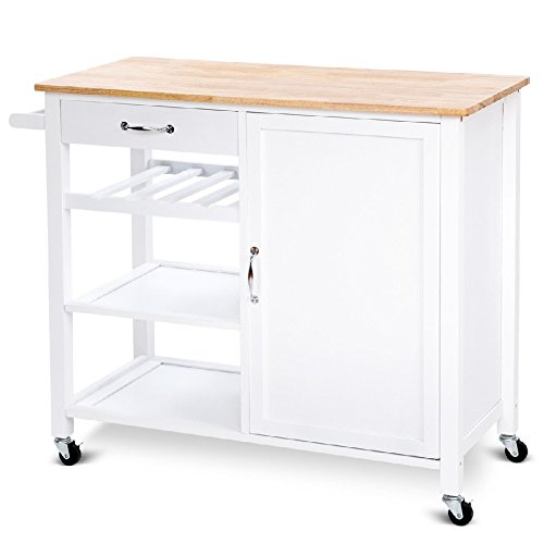 Three Tier Trolleys (Cart Kitchen Trolley Drawers Shelf Storage Rolling Cabinet Wood wheel 4 Tier)