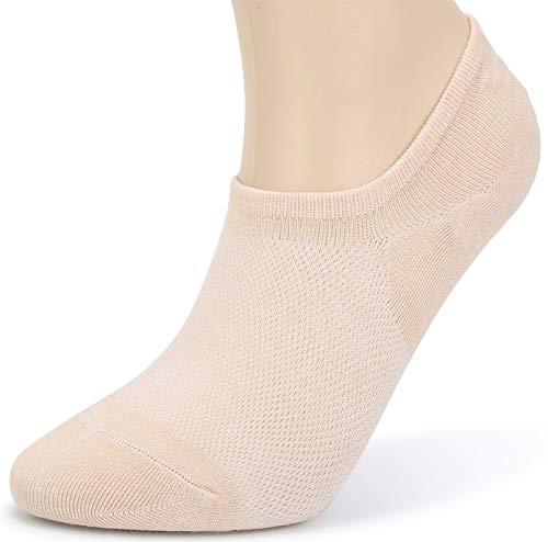 Leotruny Women's 6 Pairs Bamboo Mesh Design Low Cut Non Slip No Show Socks (C03-Beige, Women Shoe Size: 6-9)