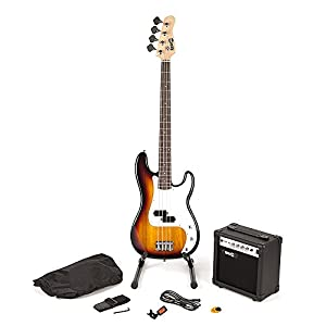 RockJam voller Größe Bassgitarre Super-Kit mit Gitarrenverstärker Gitarren-Tuner Gitarrenständer Gitarrentasche und Zubehör Sonnendurchbruchs