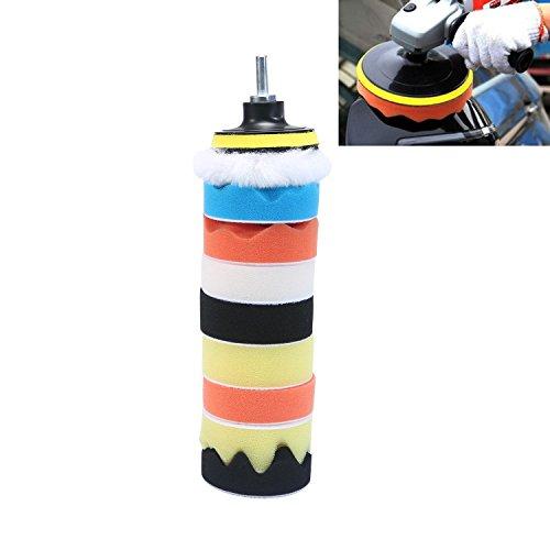 KOBWA - Kit de almohadillas para orejas de pulido para coche de espuma de 80 mm, para pulir y pulir ceras, 9 almohadillas...