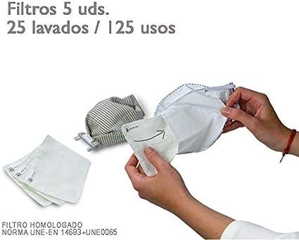 tapidecor Rayas Pack 5 UDS MASCARILLAS DE Tela Lavable Reutilizable 2 Capas + Bolsillo con 5 FILTROS Tela HOMOLOGADOS INCLUIDOS. Doble Ajuste Elastico Cabeza.: Amazon.es: Hogar