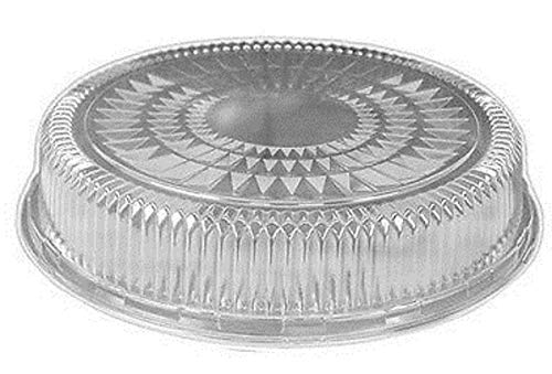HFA/DPI 12'' Round Flat Aluminum Foil Catering Serving Tray w/Clear Dome Lid (pack of 50)