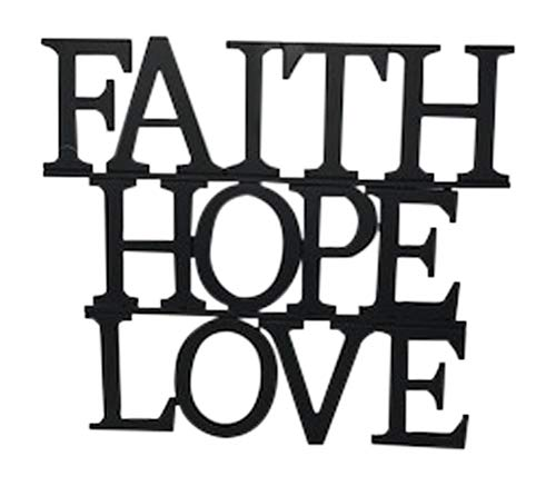 Faith, Hope & Love Wall Art Wedding Decorations Bridal Shower Family Inspirational Dark Brown Metal 14