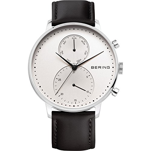 BERING Time 13242-404 Mens Classic Collection Watch with Calfskin Band and scratch resistant sapphire crystal. Designed in Denmark.