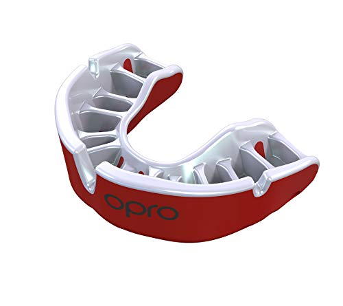 OPRO Mouthguard Custom-Fit Gold Level Gum Shield for Ball, Combat and Stick Sports - 18 Month Dental Warranty (Adult and Kids Sizes)   Red/Pearl, Adult