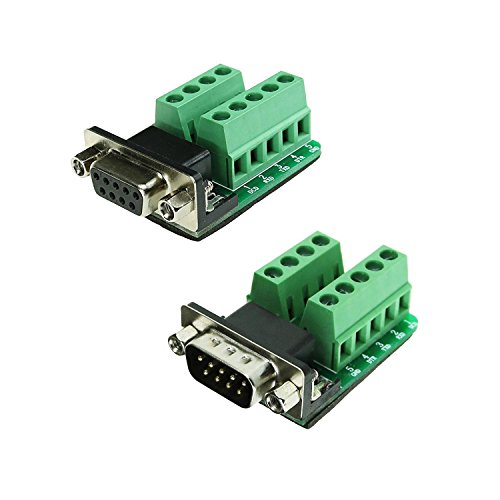 Sysly DB9 Male and DB9 Female D-SUB Adapter Plate Connector RS232 Serial to Terminal Board Signal Module