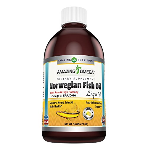 Amazing Omega Norwegian Fish Oil 16 Oz 473 Ml Fresh Lemon Flavor (Non-GMO,Gluten Free) - Supports Anti-inflammatory, Heart, Joint and Brain Health