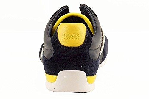 Hugo Boss Mens Utrymme Lea Mörkblå Lädergymnastikskor