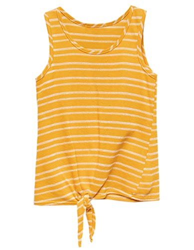 WHITE FAWN Stripe Tie Front Mustard Girls Tank Top, Mustard, - Stripes Fawn