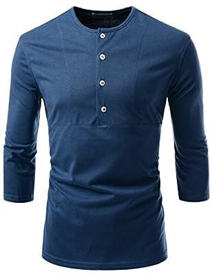 NEARKIN Round Neck 4 Button-Down 3/4 Sleeve Stylish Unisex T-Shirts