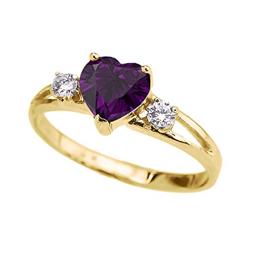 Precious 10k Yellow Gold Heart-Shaped Personalized February Birthstone CZ Proposal/Promoise Ring (Size 6)