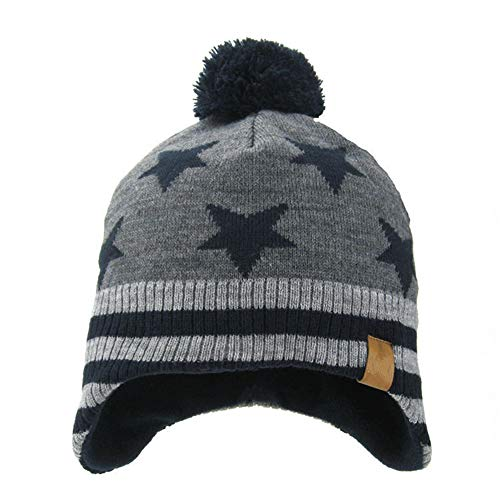 para ni Ahaha os Pompom Gris Sombreros Beanie Winter as oscuro punto Hat ni de y Kids Earflap zwCqUOz