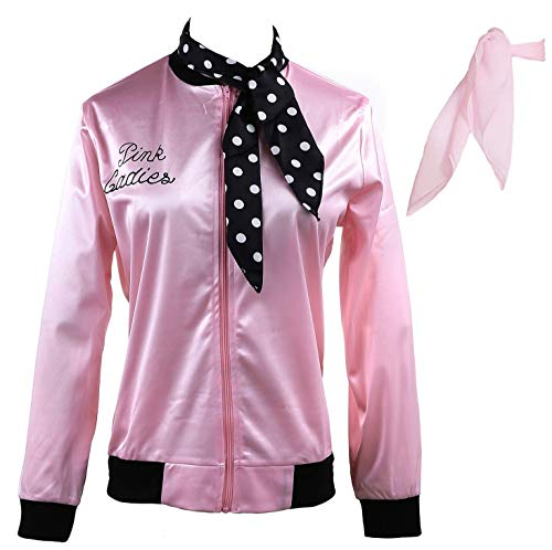 Yan Zhong 1950s Pink Ladies Satin Jacket Neck Scarf T Bird Women Danny Halloween Costume Fancy Dress (Small) -
