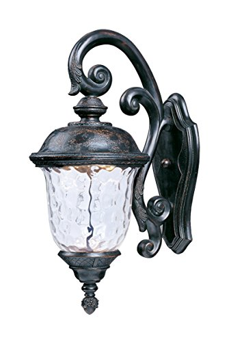 Maxim 55497WGOB Carriage House LED Outdoor Wall Mount, Oriental Bronze Finish, Water Glass Glass, LED Bulb , 40W Max., Wet Safety Rating, Standard Dimmable, Glass Shade Material, 2016 Rated Lumens ()