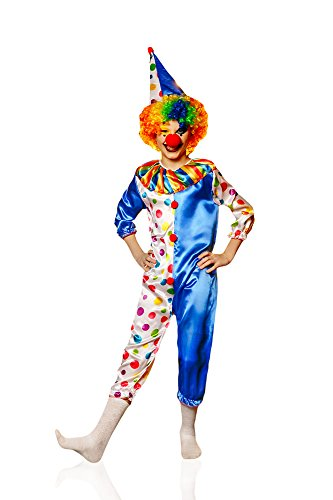 Kids Boys Funny Clown Costume Big Top Circus Suit Jumpsuit Entertainer Dress Up (6-8 years, Blue/Polka Dot (Scary Mime Halloween Makeup)