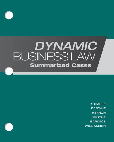 Loose-Leaf Dynamic Business Law: Summarized Cases