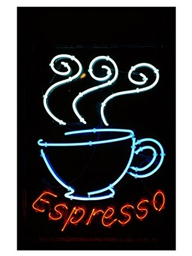 Posterazzi Glowing Neon Sign of an Espresso Coffee Cup Poster Print, (18 x ()