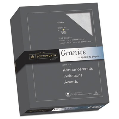 Granite Specialty Paper, Gray, 24 lbs., 8-1/2 x 11, 25% Cotton, 500/Box, Sold as 1 Ream by Southworth