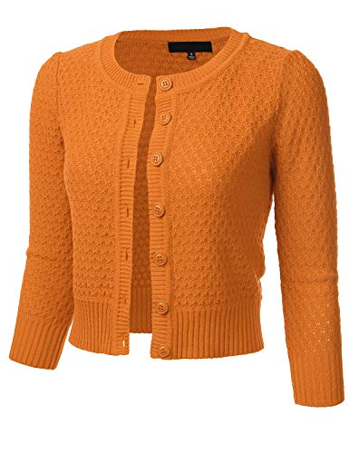 FLORIA Women's Button Down 3/4 Sleeve Crew Neck Cotton Knit Cropped Cardigan Sweater LIGHTORANGE M