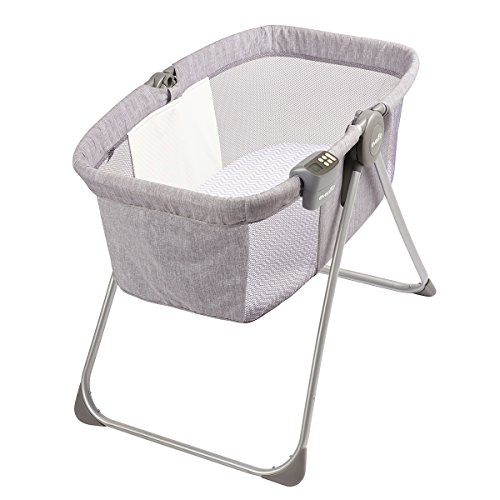 Evenflo Loft Portable Bassinet, for Boys & Girls, Bluetooth Speaker to Play Music, Soft Nightlight, Mesh Panels, Room-Temperature Monitor, 20-Pound Capacity, Gray Melange, 20.5