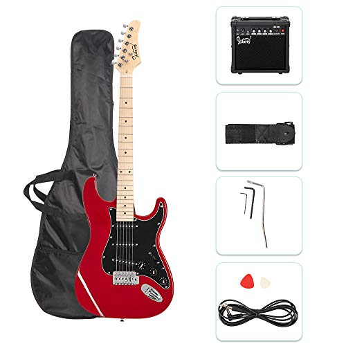 """GLARRY 39"""" Full Size Electric Guitar for Music Lover Beginner with 20W Amp and Accessories Pack Guitar Bag (Red)"""