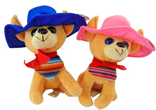 Rhode Island Novelty Chihuahua with Sombrero Plush Mexican Toy Dog Cinco De Mayo Kids Pack Each 8 Inch, Set of -