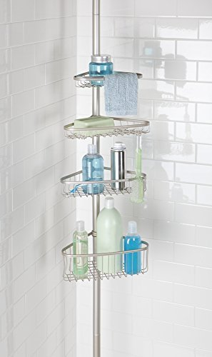 (mDesign Bathroom Shower Storage Constant Tension Corner Pole Caddy - Adjustable Height - 4 Positionable Baskets for Organizing and Containing Hand Soap, Body Wash, Wash Cloths, Razors - Satin)