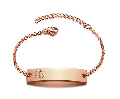 Free Engraving Simple Medical Alert ID Stainless Steel Thin Chain Adjustable Bracelet for Girl,Rose Gold Plated by VNOX