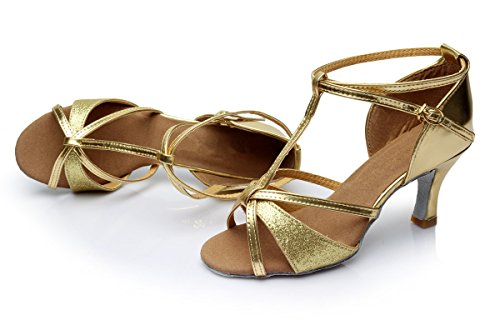 5cm Latino Ballo Scarpe da Ballo Standard Tacco Sala da TRIWORIAE Oro 7cm Tacco 7cm Donna 0Svqwya