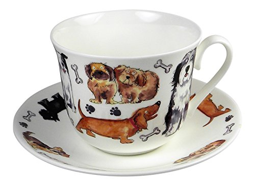 Roy Kirkham Breakfast Teacup and Saucer Set Fine Bone China Dog Tales England