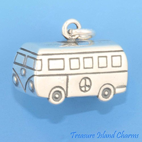 (VOLKSWAGEN VW BUS HIPPIE VAN WITH PEACE SIGN 3D .925 Sterling Silver Charm Jewelry Making Supply Pendant Bracelet DIY Crafting by Wholesale Charms)