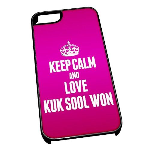 Nero cover per iPhone 5/5S 1814Pink Keep Calm and Love Kuk Sool won