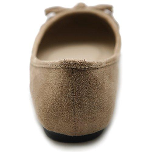 Ribbon Beige Women's Suede Flat Pleat Shoe Comfort Ballet Faux Ollio 47YqwC