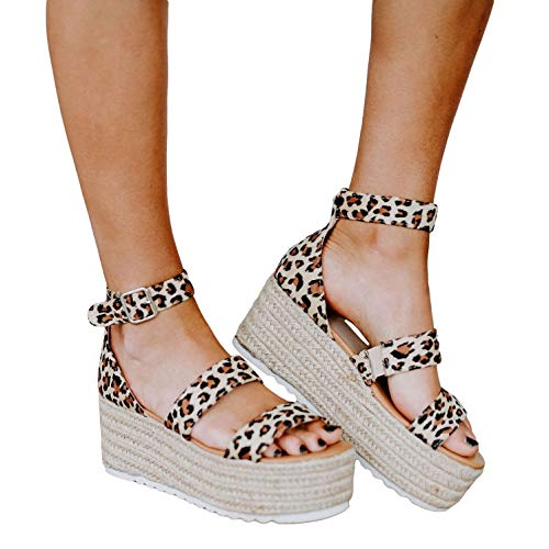 (Liyuandian Womens Open Toe Ankle Strap Sandals Espadrilles Platform Wedge Sandal Ankle Strap Mid Heel Shoes (6 M US, 4-Leopard-Print))