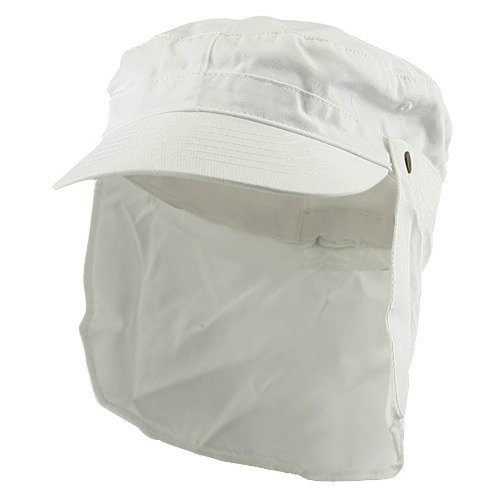 MG Army Cap with Flap-White (Hat Flap E4hats Cotton)