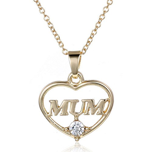 Price comparison product image New Mum Heart Charm Pendent Necklace Crystal Gold Plated Jewelry Gift for Mother EW
