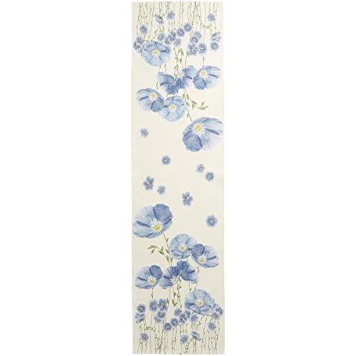 Woven French Tapestry Table Runner, Blue Flax Flower Field, (Champs de Fleurs), 71