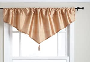 Stylemaster Tribeca 52 by 20-Inch Faux Silk Ascot Valance with Tassel, Truffle