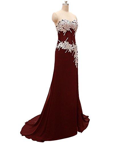 Burgund Langes Schulter Rueckenfrei Ab Damen Abendkleider Aiyana für Perlen Schwarz Kleid ärmellos Chiffon YFw7SO