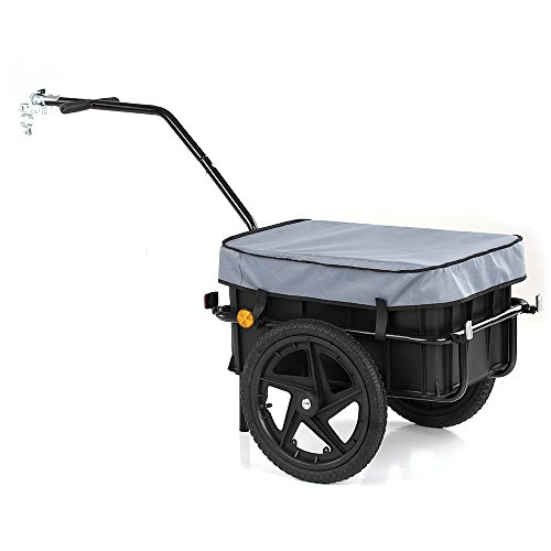 iKayaa Outdoor Bike Bicycle Cargo Luggage Trailer, Hand Wagon Luggage Storage Trailer Cart Carrier with Removable Transportation Box and Cover by iKayaa
