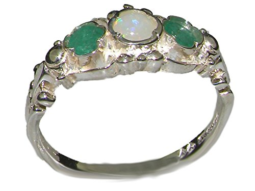 18k White Gold Natural Opal and Emerald Womens Trilogy Ring - Sizes 4 to 12 (White Gold Trilogy Ring)