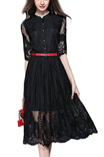 Encaje elegante único Breasted Swing Vestido de la mujer con la correa Black