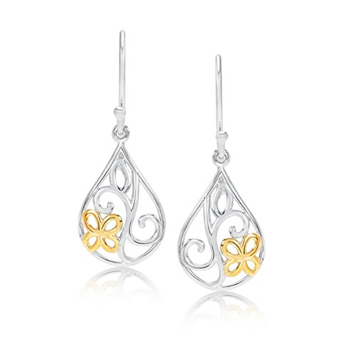 Filigree Flower Shape Earrings - 14k Yellow Gold and Rhodium Plated Sterling Silver Filigree with golden flower Hypoallergenic Tear drop shape Earrings For Women and Girls