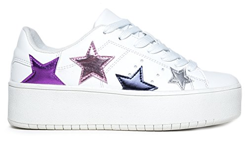 Walking On Easy Platform Hero Slip Lace Adams Casual Star Fashion White J Multi Chunky Shoe up by Sneaker Everyday Pu 0Of4x