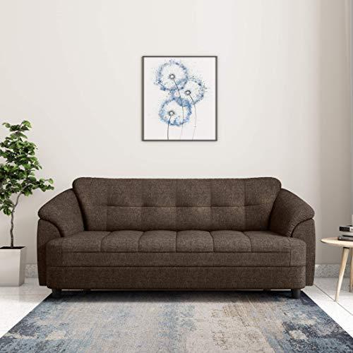 Amazon Brand   Solimo Newport Fabric 3 Seater Sofa  Brown