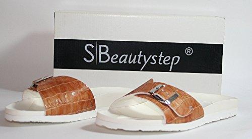 Beautystep Damen Aktiv Fitness Sandale Gr. 38 Kroko Optik (Braun)